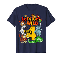 Cargar imagen en el visor de la galería, Kids 4 Year Old Zoo Birthday Shirt Safari Jungle Animal 4th