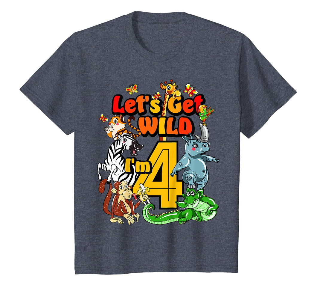 Kids 4 Year Old Zoo Birthday Shirt Safari Jungle Animal 4th