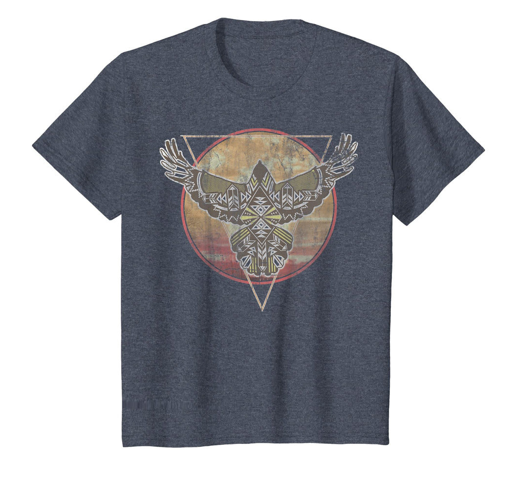 Hawk Geometric Pattern Sunset Vintage Graphic T-Shirt