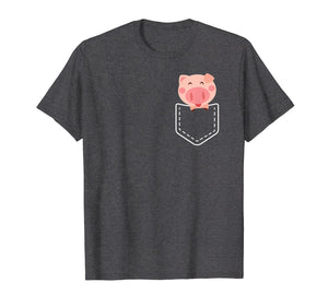 Cute Pig Pocket Shirt Funny Gift for Women Girls T-Shirt