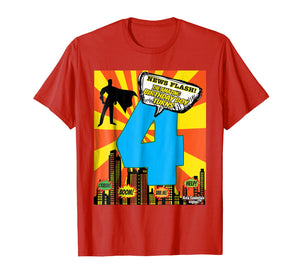 Birthday Boys Shirt Age 4 Superhero Comic Book Theme Party
