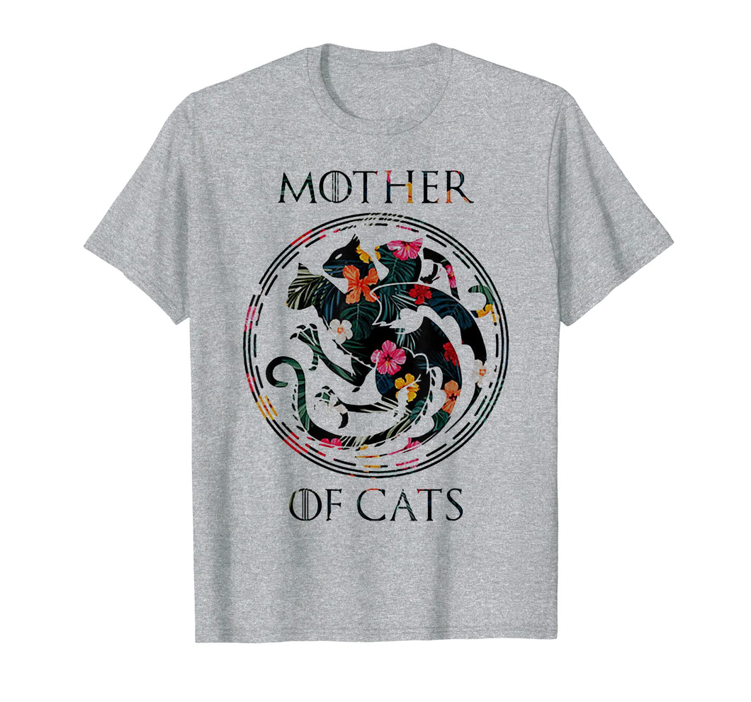 Mother of Cats Floral Tshirt - Funny Cat Lover Tee Shirt