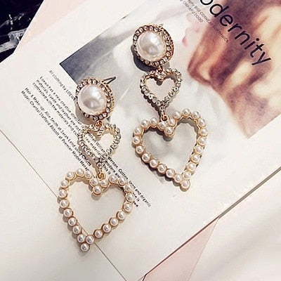 Diamond Heart Danglers