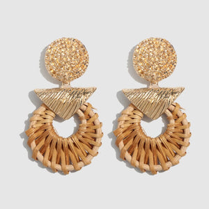Handmade Weave Knit Gold Earrings