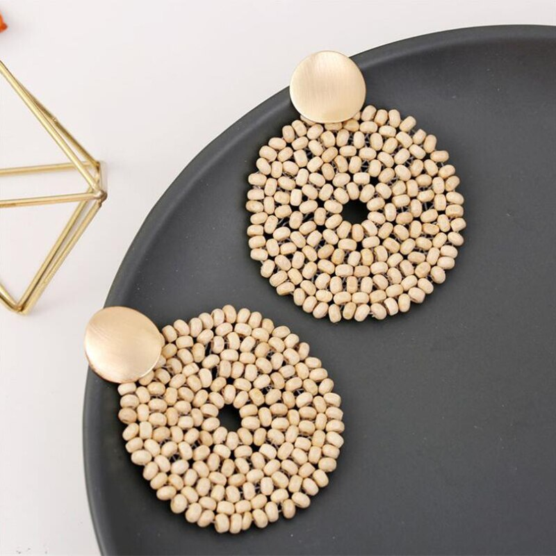Geometric Bamboo Round Earrings