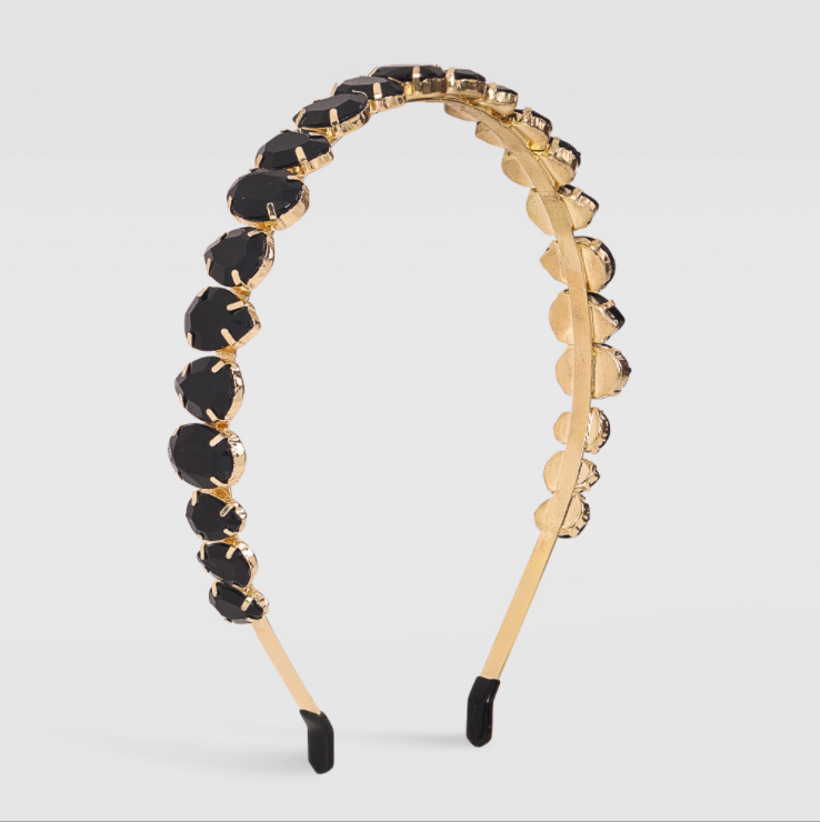 Black Crystal Hair Band