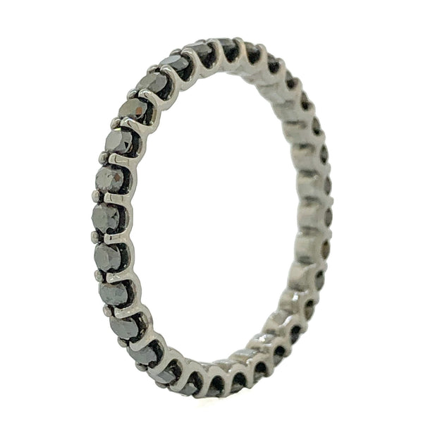 14K Black Rhodium Black Diamond Eternity Band - Walter Bauman Jewelers