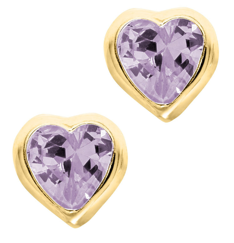 14K Gold Heart Baby Studs - June Cz - Walter Bauman Jewelers