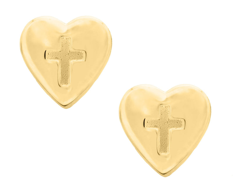 14K Heart Baby Studs with Cross - Walter Bauman Jewelers