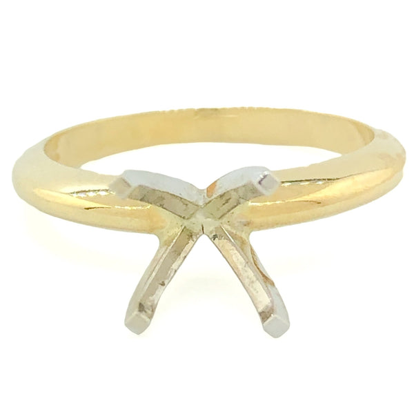 14k TT Solitaire Engagement Ring Mount. - Walter Bauman Jewelers