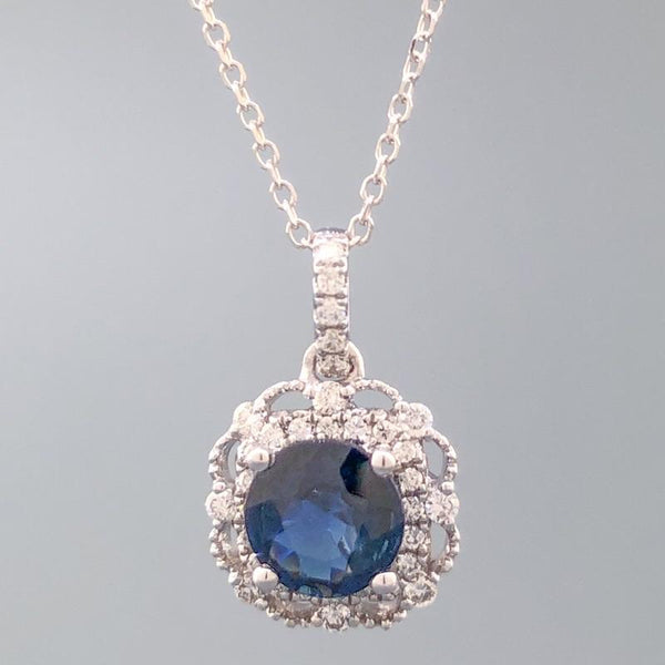 14k WG 0.90ct Sapphire & 0.33cttw Diamond Halo Necklace - Walter Bauman Jewelers