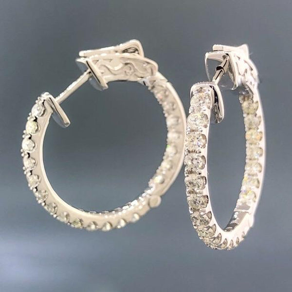 14K WG 1.70cttw Diamond In/Out Round Hoop - Walter Bauman Jewelers