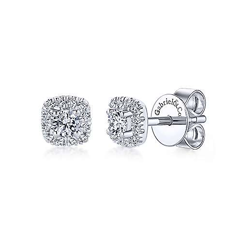 14k WG .26cttw Square Diamond Earrings - Walter Bauman Jewelers