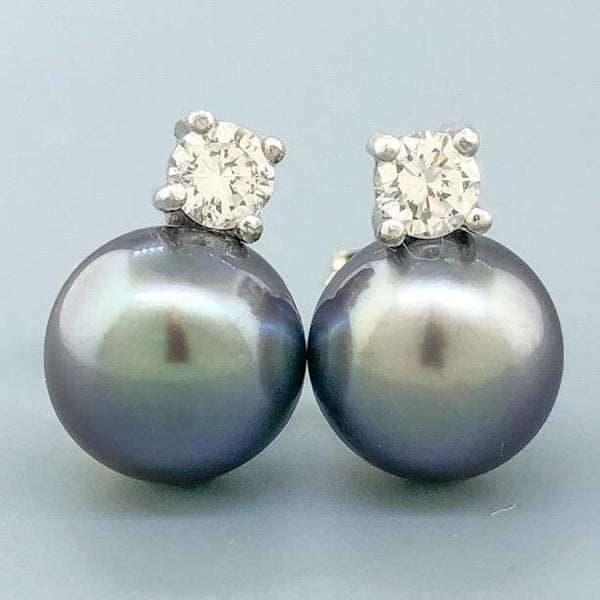 14K WG .44cttw Diamond & 9mm Tahitian Pearl and Diamond Earrings - Walter Bauman Jewelers