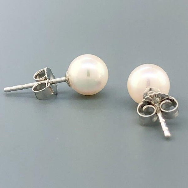 14K WG 6.00-6.50mm Pearl Stud Earrings - Walter Bauman Jewelers