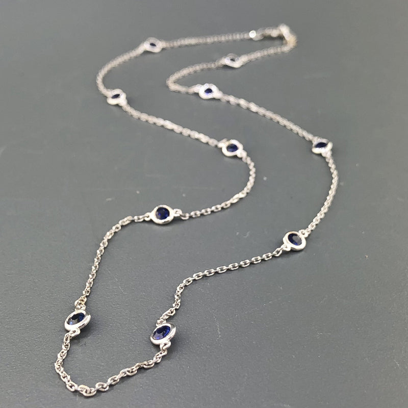 "14K White gold 18"" chain with 10 round bezel set sapphires - Walter Bauman Jewelers"