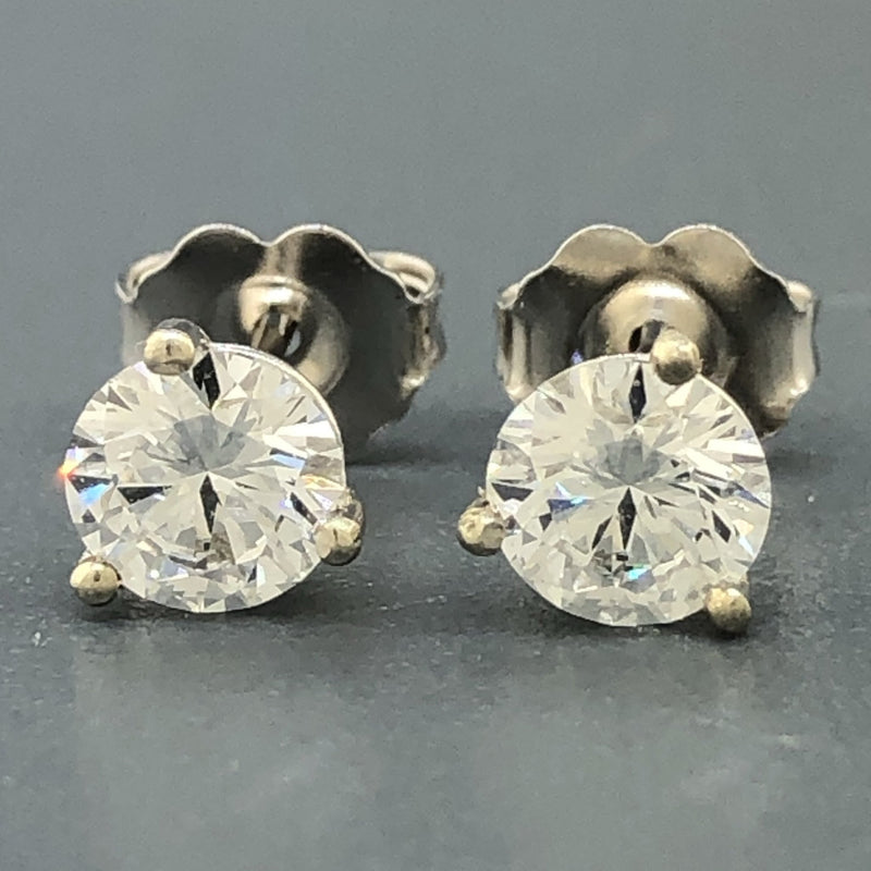14k White gold 1ct lab grown round Fabulous Diamond Studs - Walter Bauman Jewelers