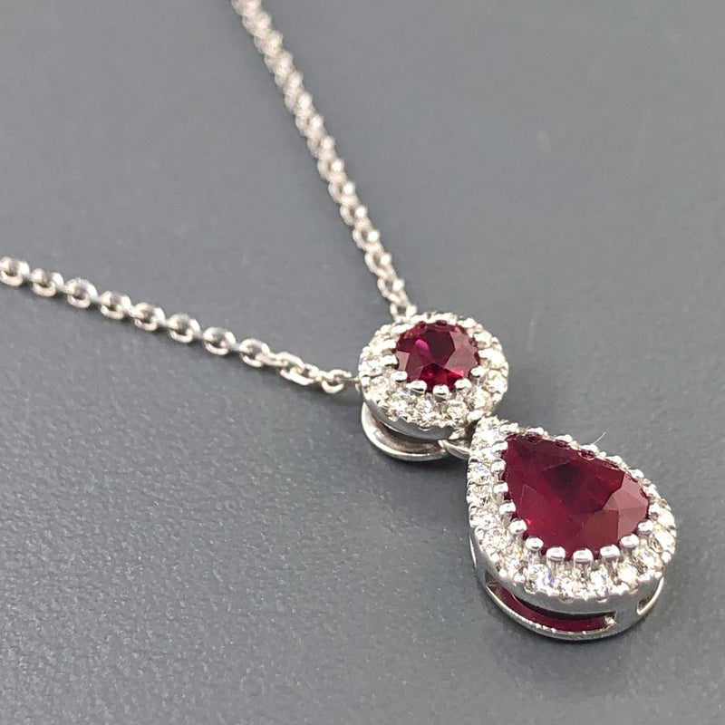 14k White gold double drop ruby and diamond pendant - Walter Bauman Jewelers