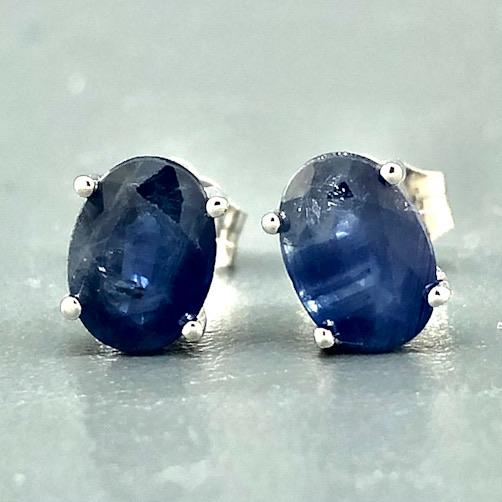 14K White gold oval 7x5 sapphire stud earrings 2.16ct - Walter Bauman Jewelers