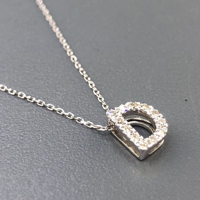 14K White gold small diamond initial 'D' pendant - Walter Bauman Jewelers