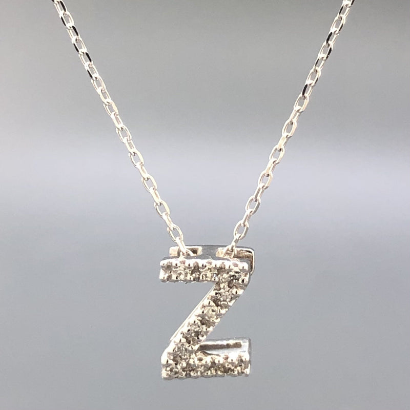 14K White gold small diamond initial 'Z' pendant - Walter Bauman Jewelers