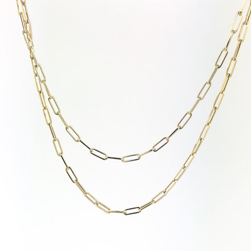 "14K Yellow gold 30"" paperclip necklace - Walter Bauman Jewelers"
