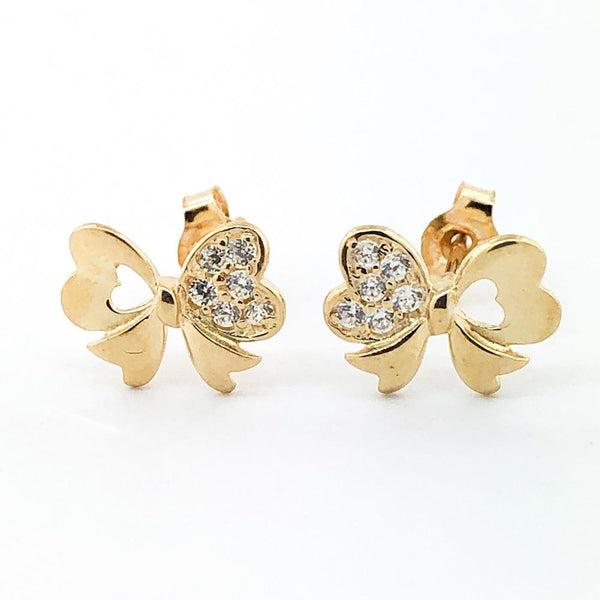 14K Yellow gold bow earring with cubic zirconia - Walter Bauman Jewelers