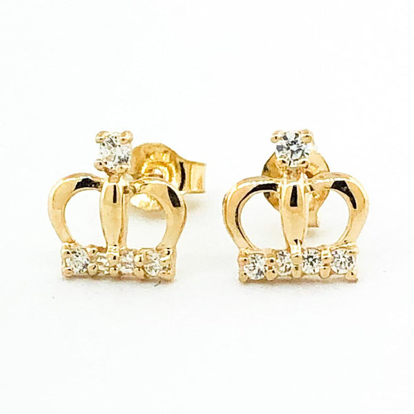 14K Yellow gold crown earring with cubic zirconia - Walter Bauman Jewelers