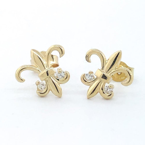 14K Yellow gold fleur de lis earrings - Walter Bauman Jewelers