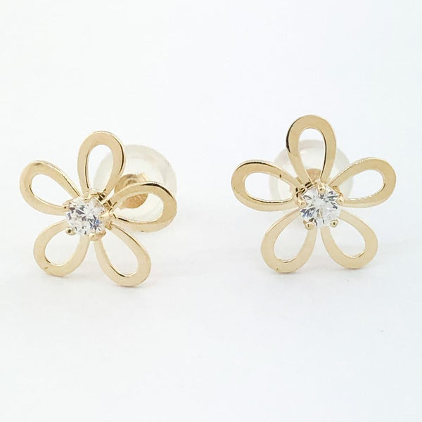 14K Yellow gold open flower earring with cubic zirconia - Walter Bauman Jewelers