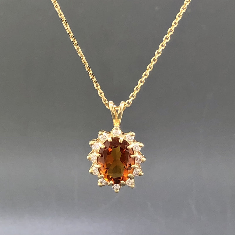 14K Yellow gold oval Citrine and diamond pendant with diamonds - Walter Bauman Jewelers