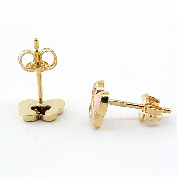 14K Yellow gold pink enamel butterfly earrings - Walter Bauman Jewelers