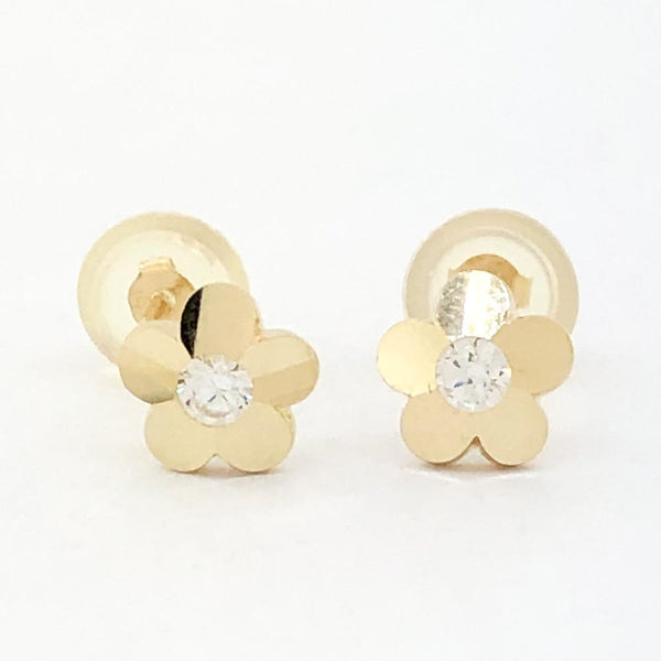 14K Yellow gold small flower earring with cubic zirconia - Walter Bauman Jewelers