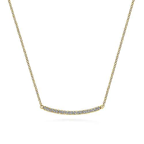 14K YG .18cttw Diamond Curved Bar Necklace - Walter Bauman Jewelers