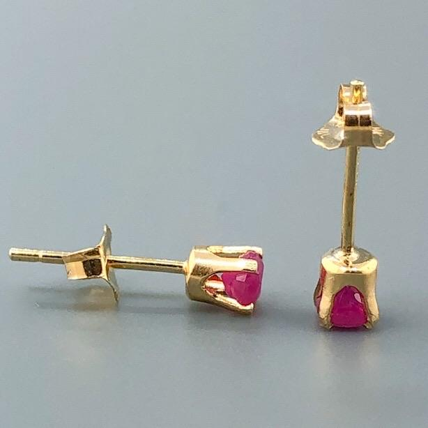 14K YG 3mm Round Ruby Stud Earrings - Walter Bauman Jewelers