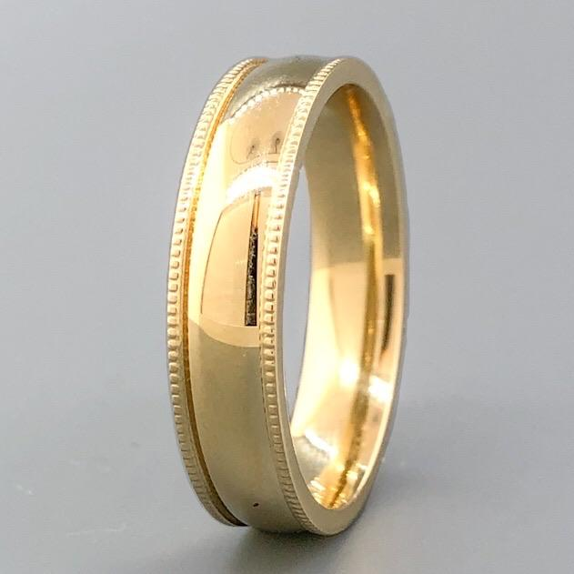 14K YG 5.0mm Milgarin Edge Band - Walter Bauman Jewelers