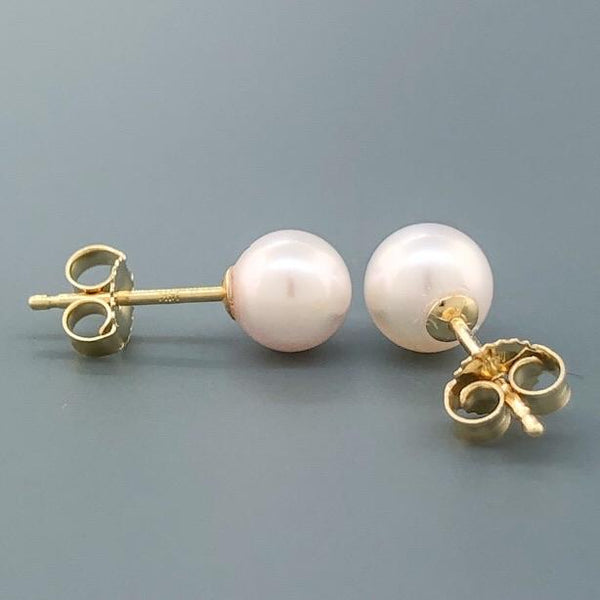 14K YG 6.00-6.5mm Pearl Stud Earrings - Walter Bauman Jewelers