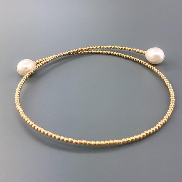 14K YG Bead Choker with Pearl Ends - Walter Bauman Jewelers