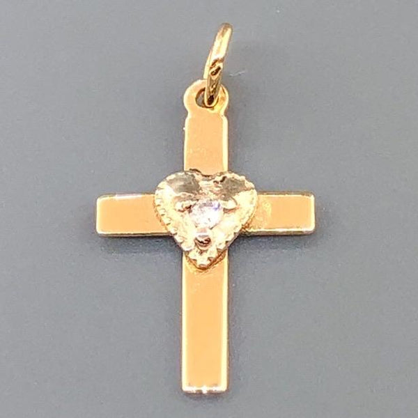 14K YG Small Heart Cross with Diamond Cross - Walter Bauman Jewelers