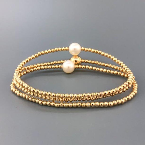 14K YG Triple Bead Stretch Bracelet with 2 Pearls - Walter Bauman Jewelers