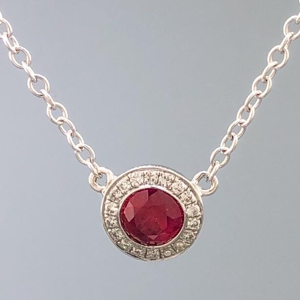18K WG .36ct Ruby & 0.05cttw Diamond Halo Necklace - Walter Bauman Jewelers