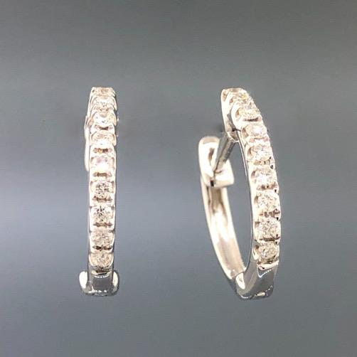 18k White Gold 0.12cttw Diamond Huggie Hoop Earrings - Walter Bauman Jewelers