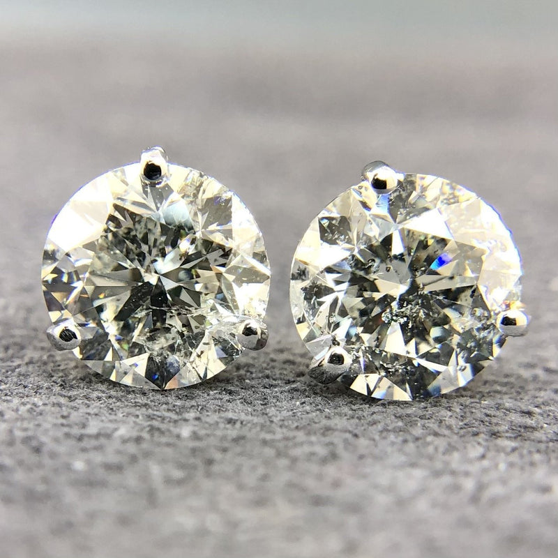18k White Gold Fabulous Diamond Studs 4.69cttw - Walter Bauman Jewelers