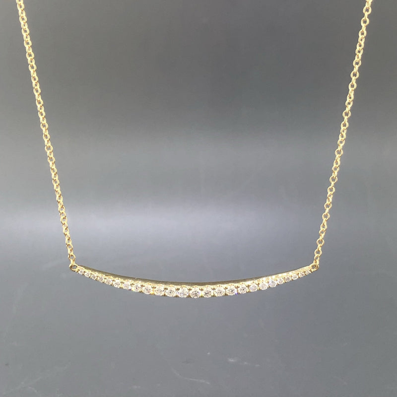 18K Yellow gold diamond curved bar necklace with diamonds .48tdw - Walter Bauman Jewelers