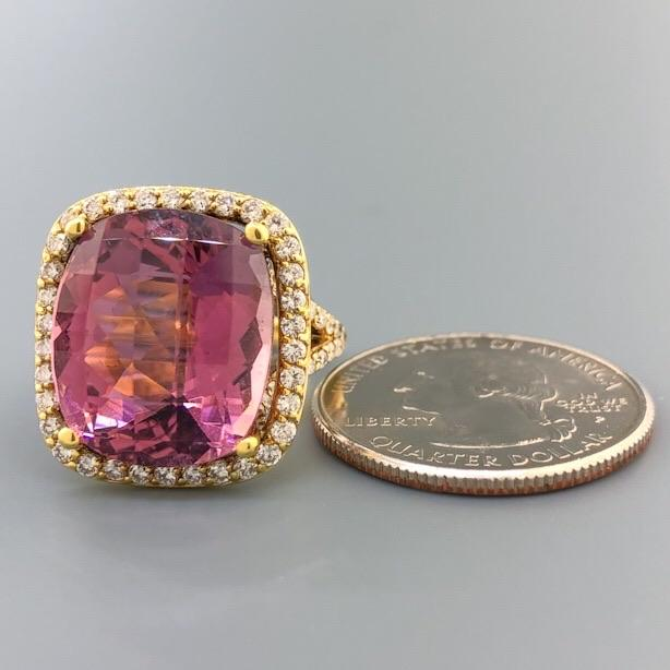 18K YG 13ct Pink Tourmaline & 0.57cttw Diamond Ring - Walter Bauman Jewelers