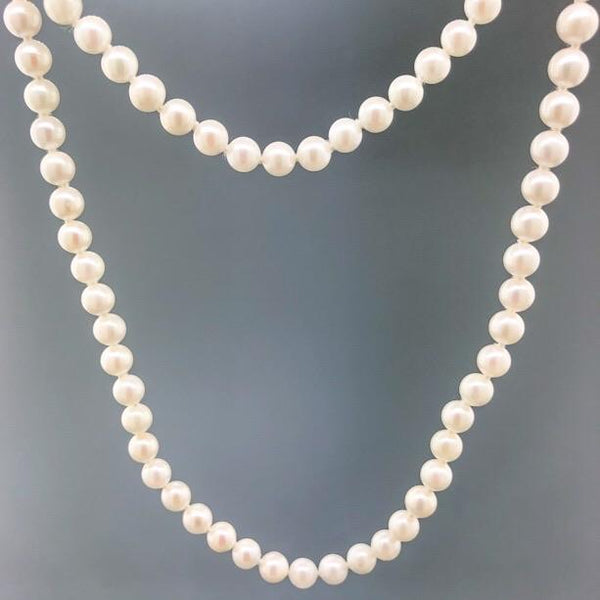 "30"" 5.5 X 5mm AAA Pearl Necklace with 14K YG Clasp - Walter Bauman Jewelers"