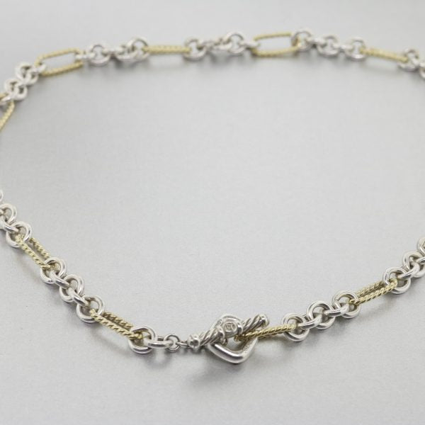 Estate David Yurman 18k & Sterling Silver Figaro Cable Necklace