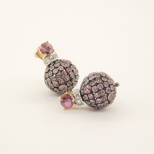 Estate Pink Sapphire & Diamond Earrings