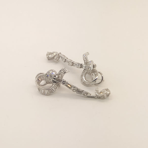Estate Platinum & Diamond Drop Earrings