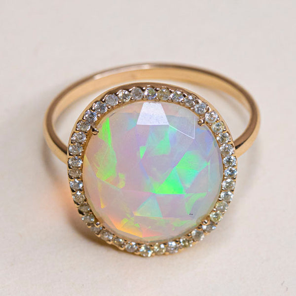 Estate 14k Opal & Diamond Ring